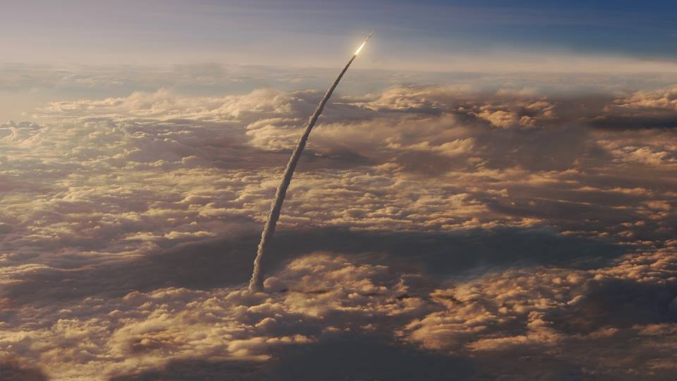 NASA: Artist's impression of the SLS Launch, bound for Mars (dhitt)